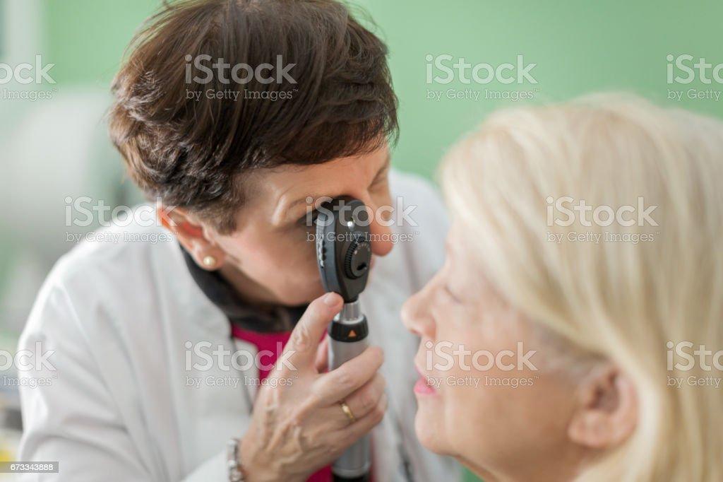 Doing eye test stock photo