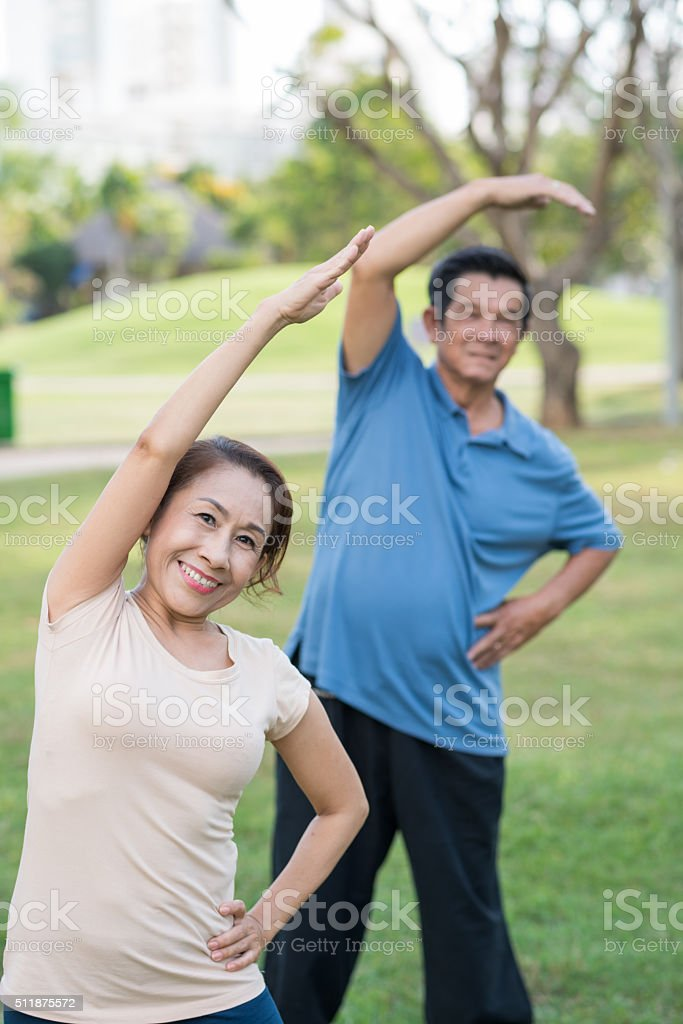 Doing gymnastics stock photo