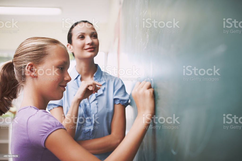 Doing her numbers royalty-free stock photo