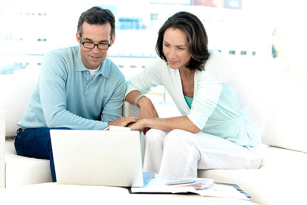 Doing Home Finances together stock photo