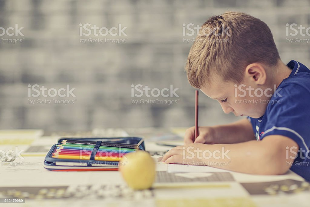 Doing homework stock photo