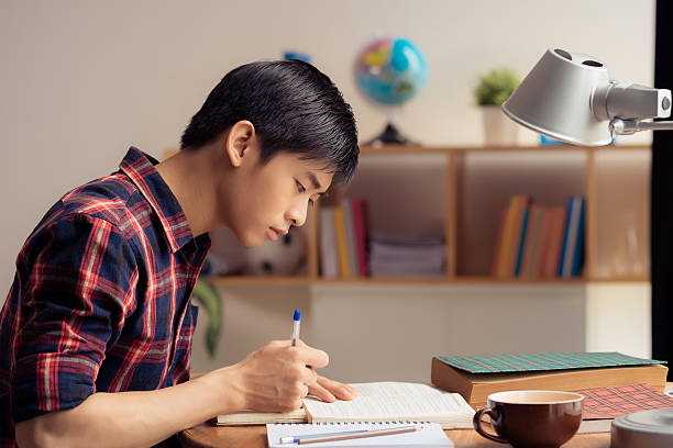 Doing homework Vietnamese teenager doing homework, side view vietnamese ethnicity stock pictures, royalty-free photos & images