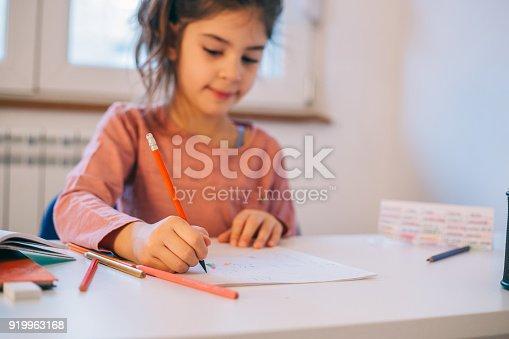Cute school girl doing homework at home