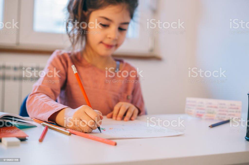 Doing homework stock photo