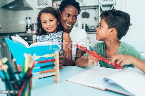 172407626 istock photo Doing homework with mom 1200581601