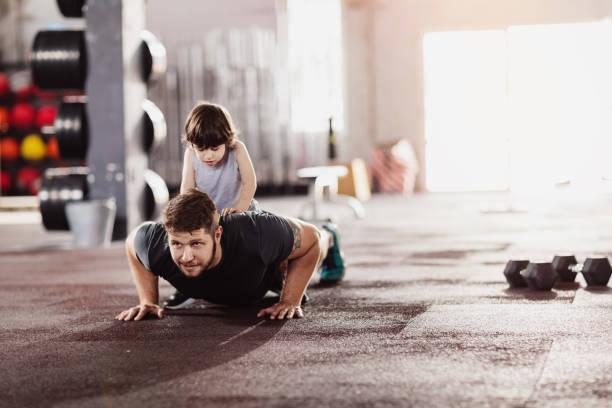 Doing push-ups stock photo