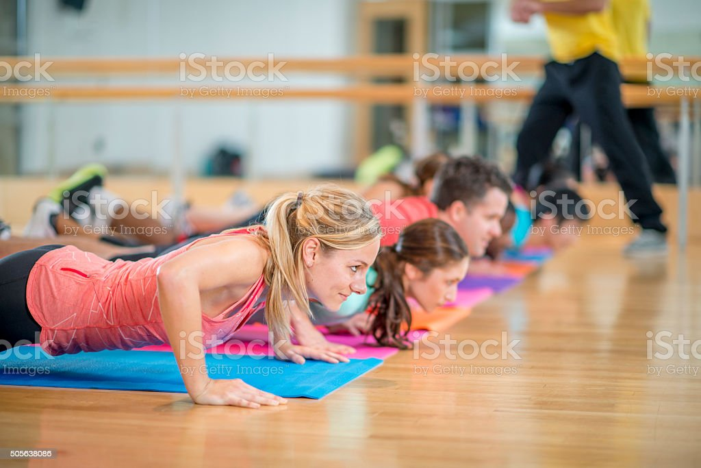 Doing Pushups Together stock photo