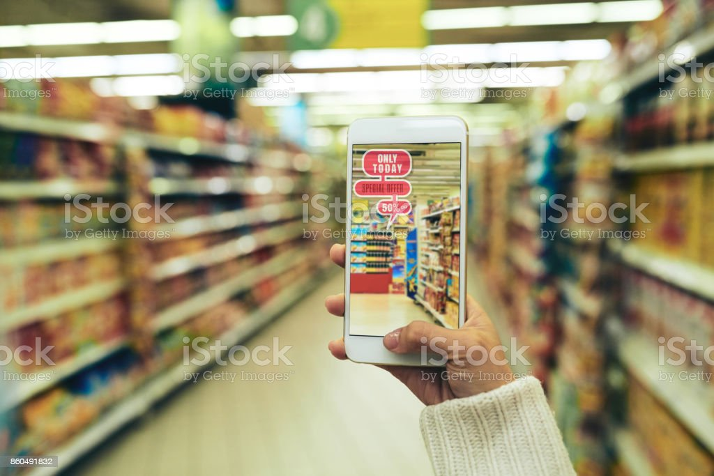 Doing Shopping with Augmented Reality App stock photo