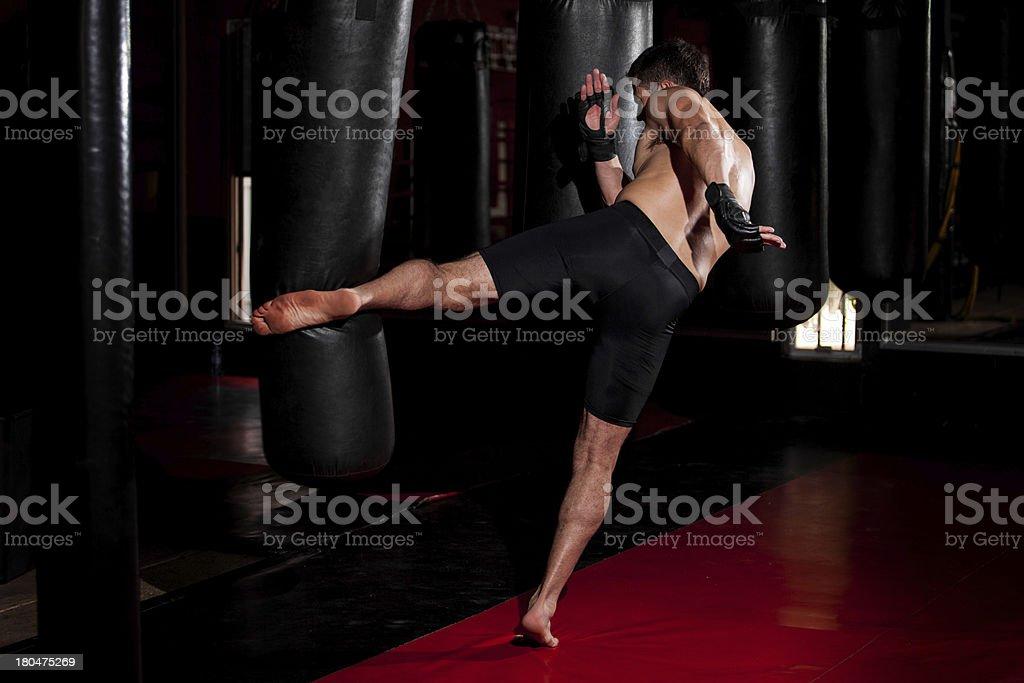 Doing some kicks on a punching bag royalty-free stock photo