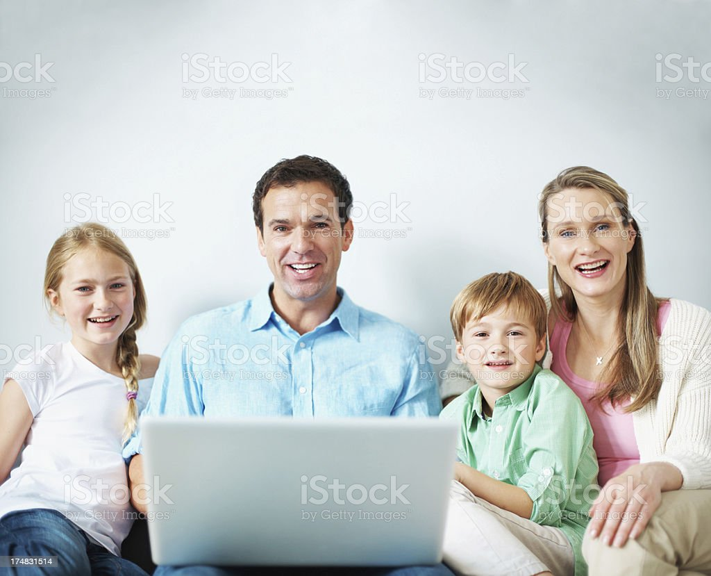 Doing some online exploring together royalty-free stock photo