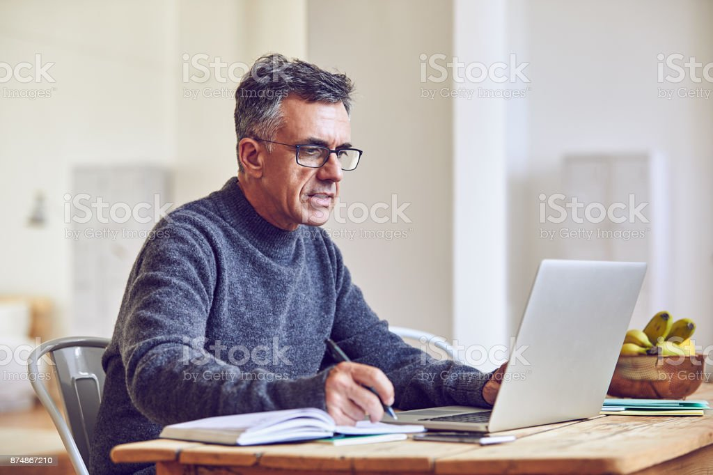 Doing some research stock photo