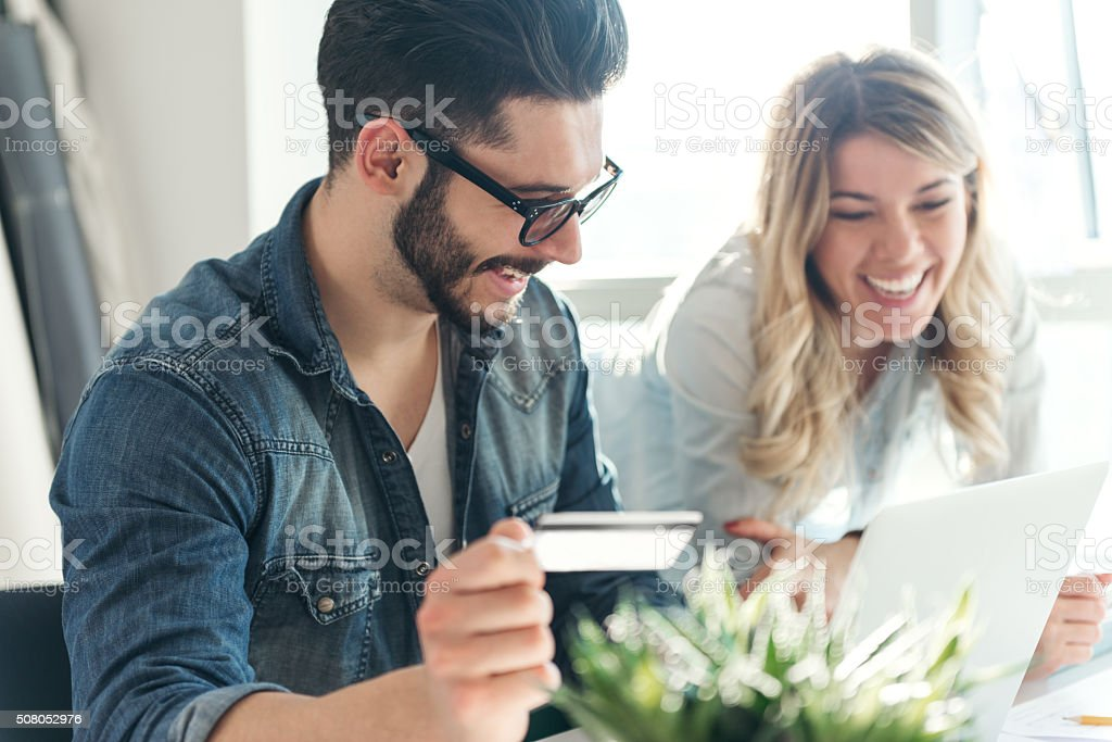 Doing some shopping stock photo