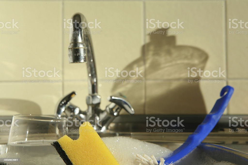 Doing the dishes royalty-free stock photo