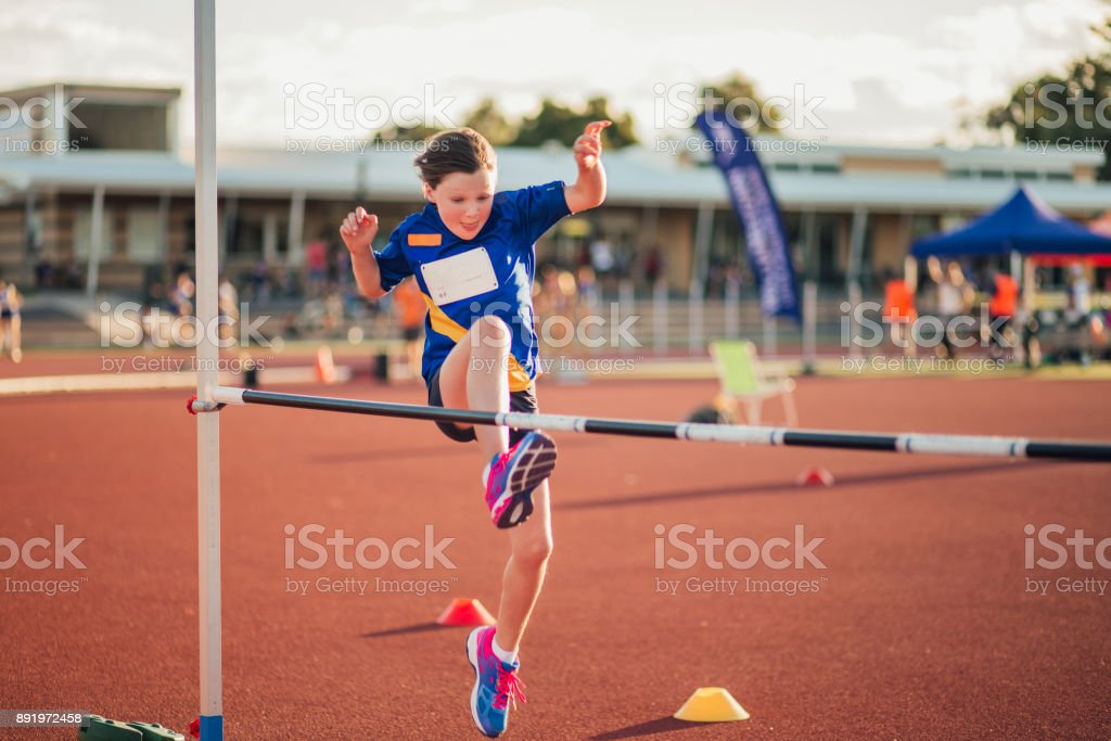 Doing The High Jump At Athletics Club Stock Photo ...