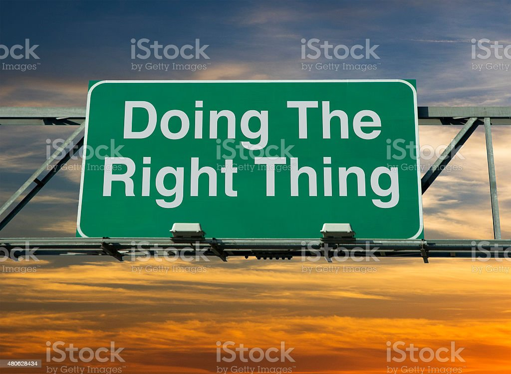 Doing The Right Thing stock photo