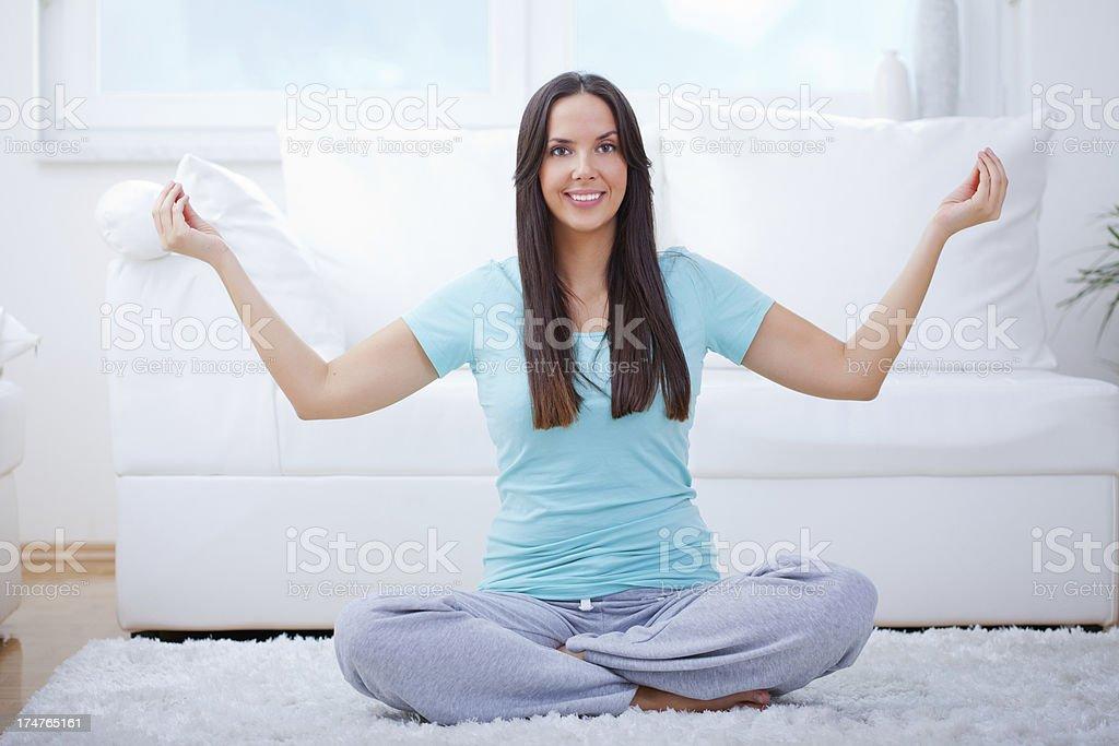 Doing yoga royalty-free stock photo