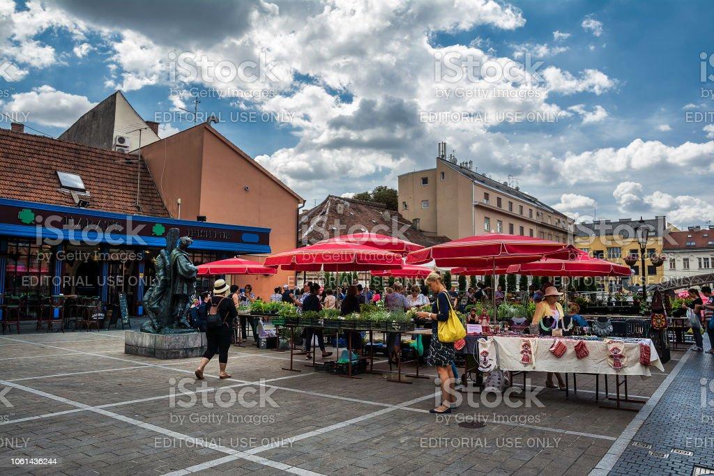 ZAGREB, CROACIA - JULY 15, 2017. Dolac Market , most popular Zagreb...