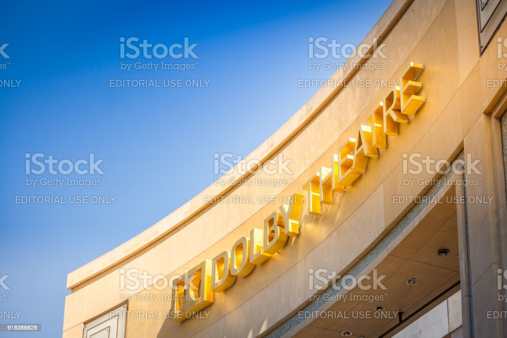 Dolby Theatre facade against blue sky stock photo