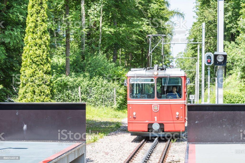 Dolder Grand cog-railway station in Zurich stock photo