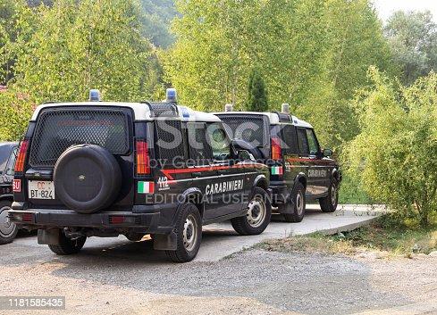 Doljane village, Northern Kosovo, Carabinieri vehicles parked on the parking lot, 12th August 2017.