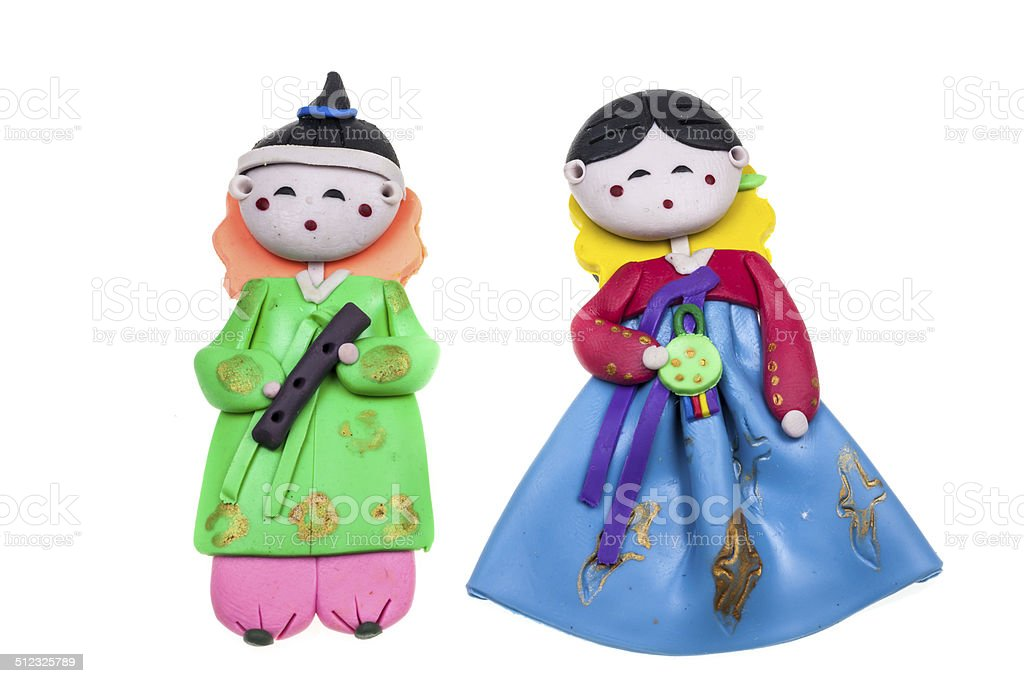 doll Male and female Korea traditional souvenir stock photo