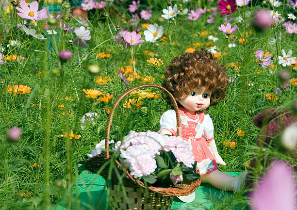 Doll on a glade of colors stock photo