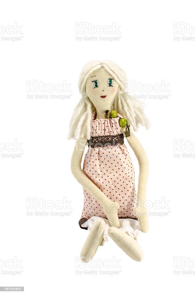 Boneca com cabelo loiro, Isolado no branco - foto de acervo