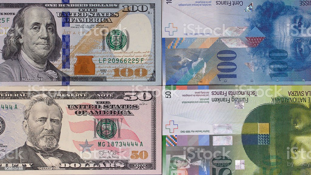 100 dollar 50 swiss franc money background. stock photo