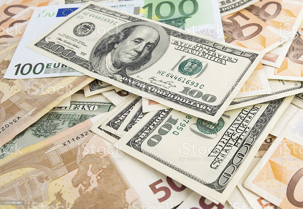 Dollar Agains Euro royalty-free stock photo
