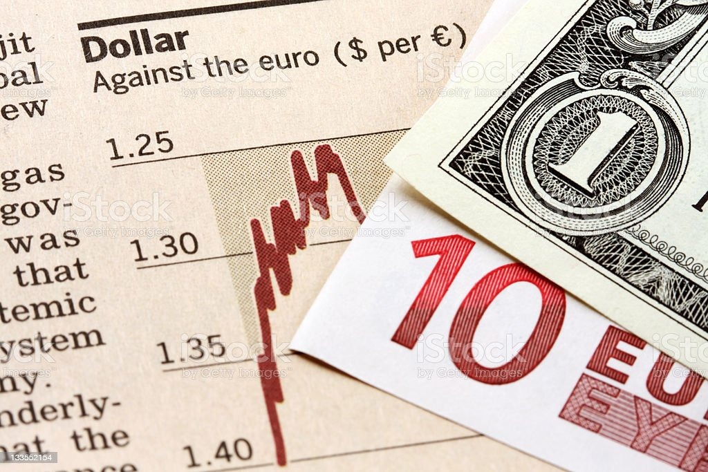 Dollar against the euro royalty-free stock photo