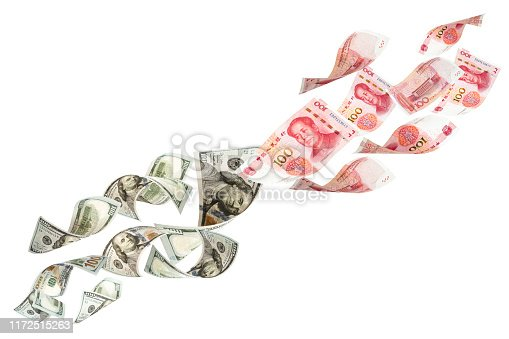 istock US dollar and China Yuan banknote on white background. Its is symbol for tariff trade war crisis between United States of America and China which the biggest economic country in the world. 1172515263