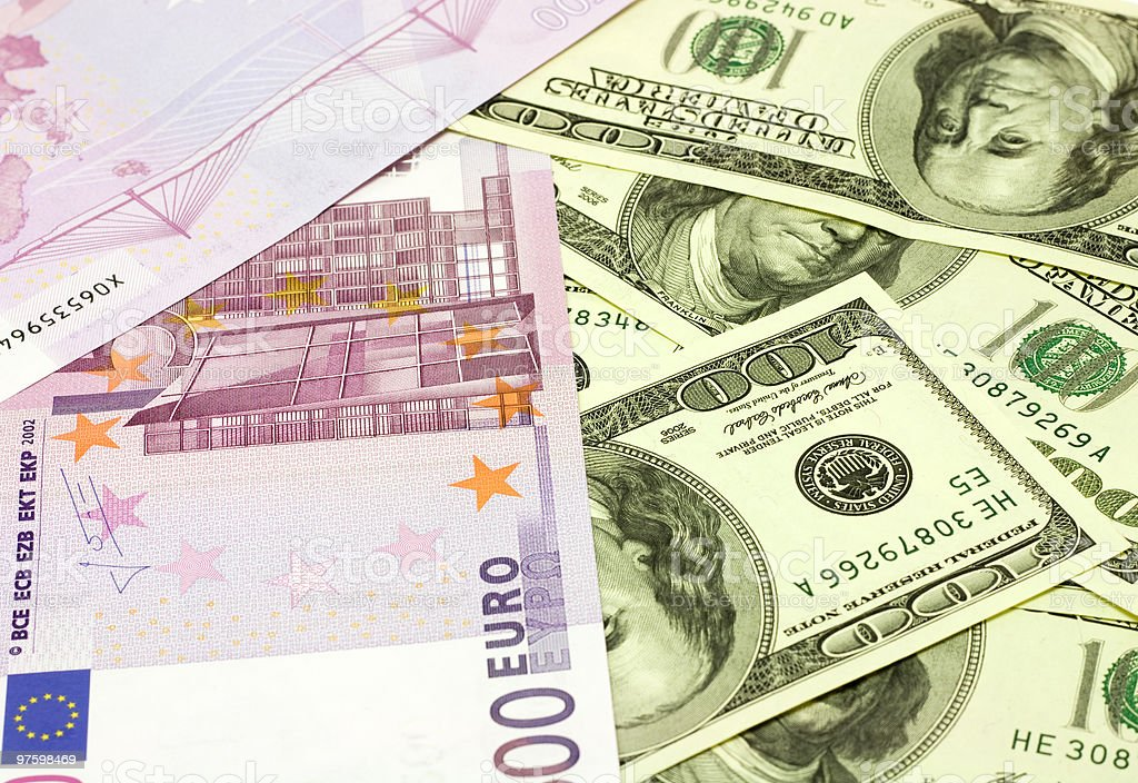 Dollar and euro banknotes royalty-free stock photo