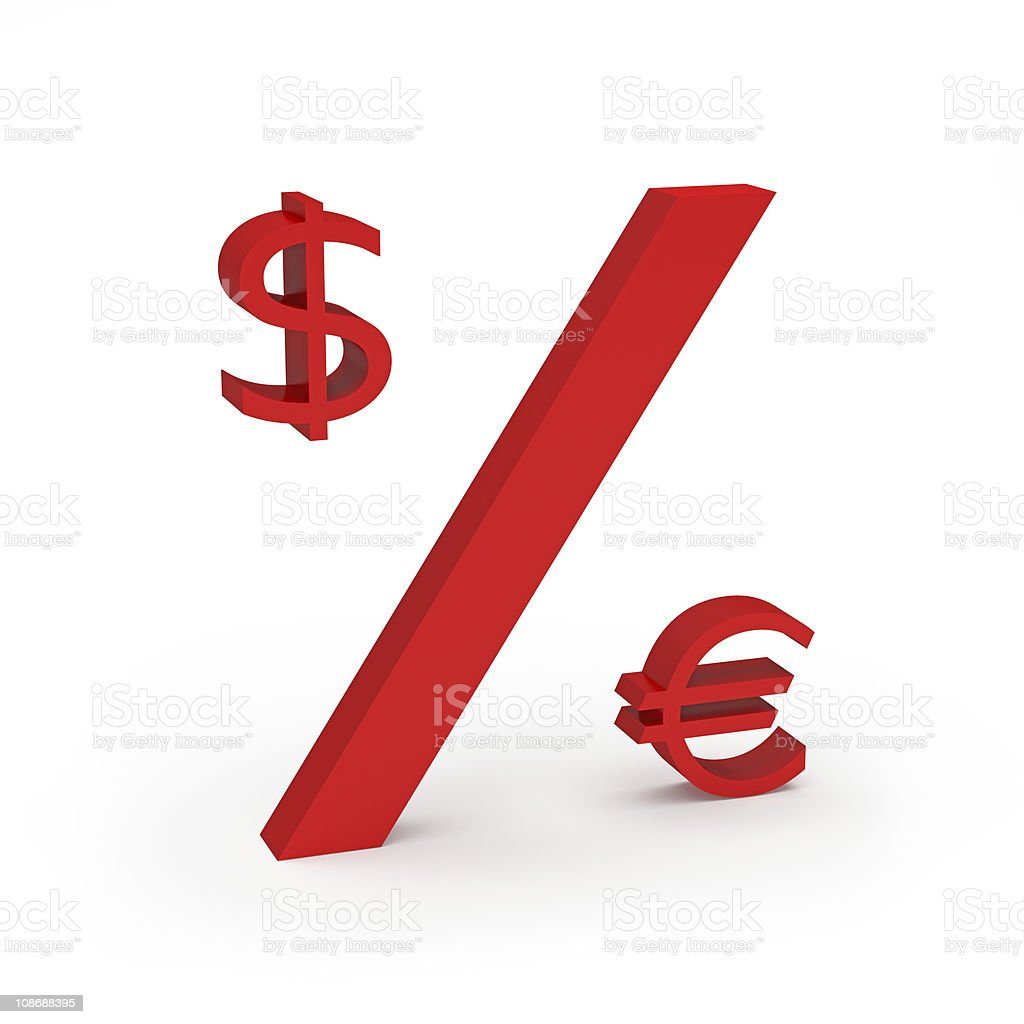 Dollar and Euro Percentage Concept royalty-free stock photo