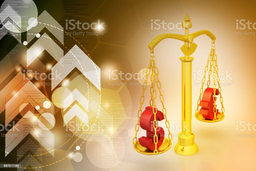 Dollar and euro sign balancing the scale Lizenzfreies stock-foto