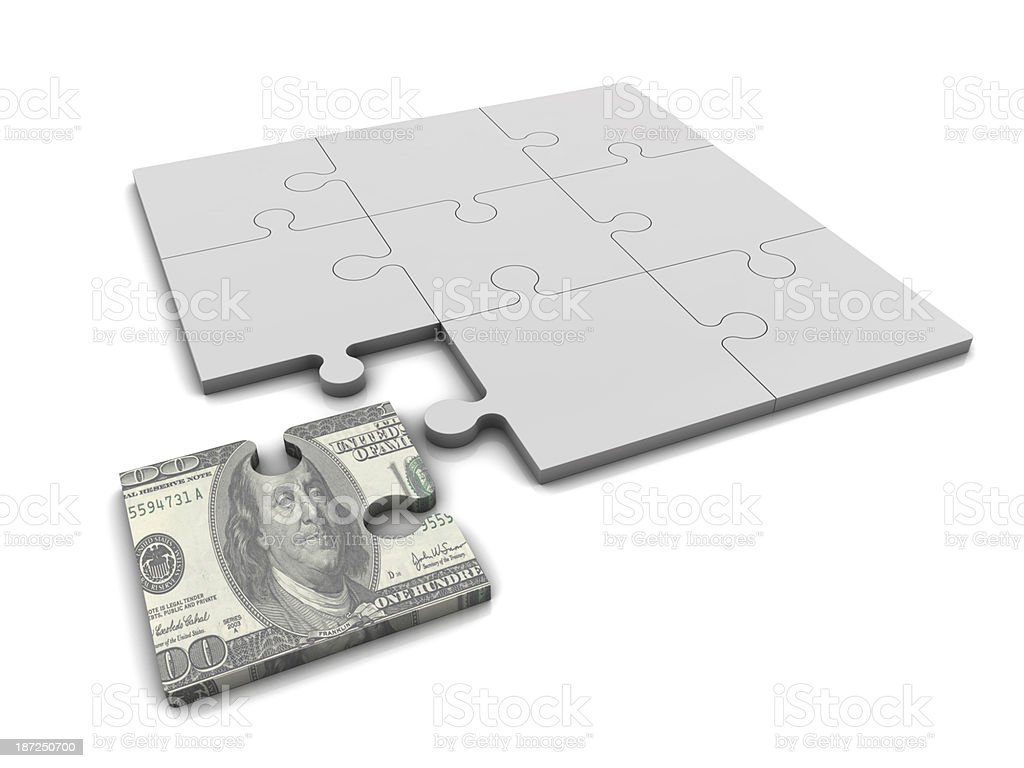 Dollar and Puzzle royalty-free stock photo