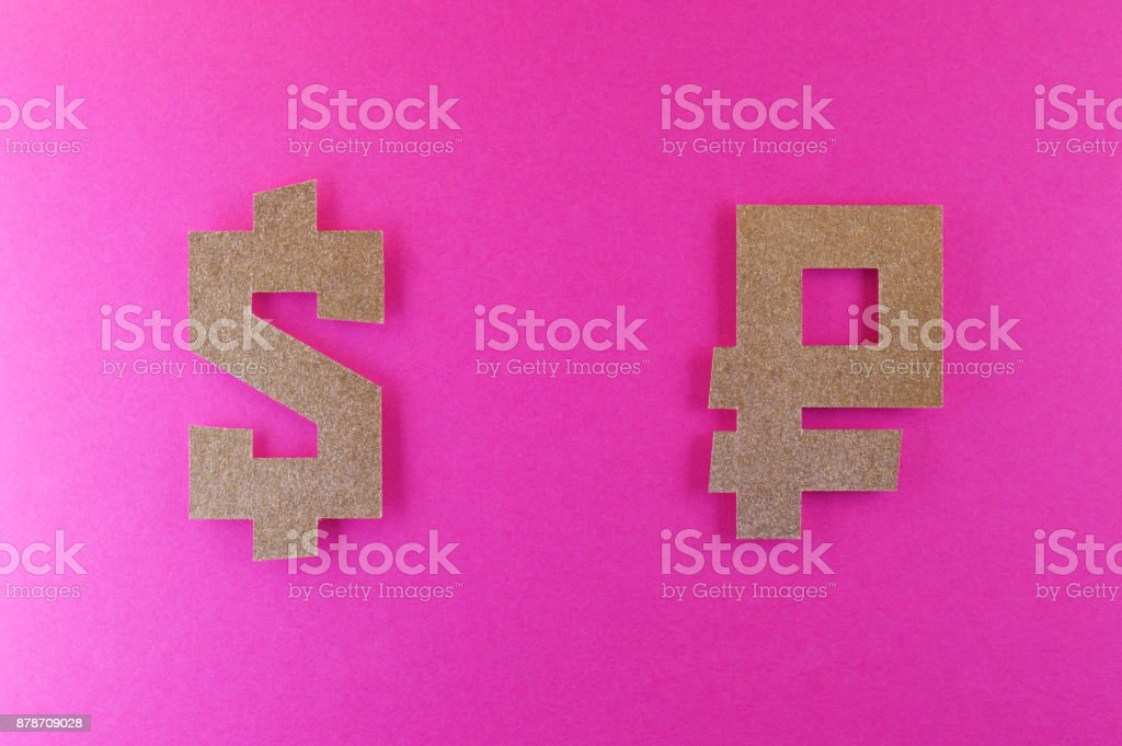 Dollar And Ruble Currency Symbol On Pink Background Stock Photo