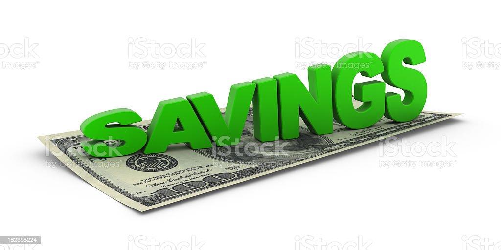 Dollar and Word Savings royalty-free stock photo