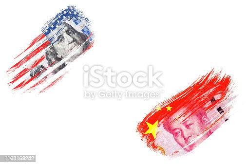 istock US dollar and Yuan banknote on USA and China flags. Its is symbol of economic tariff trade war crisis between United States of America and China which the biggest economic country in the world. 1163169252