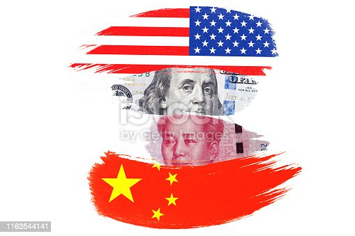 istock US dollar and Yuan banknote on USA and China flags. Its is symbol of economic tariff trade war crisis between United States of America and China which the biggest economic country in the world. 1163544141