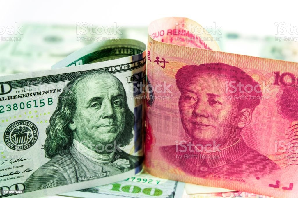 Dollar and Yuan tariff of economic war trade. stock photo