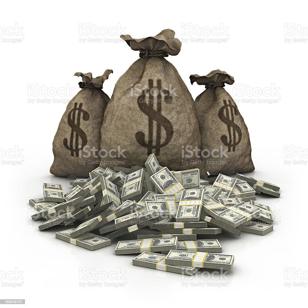 dollar bag with dollars heap royalty-free stock photo