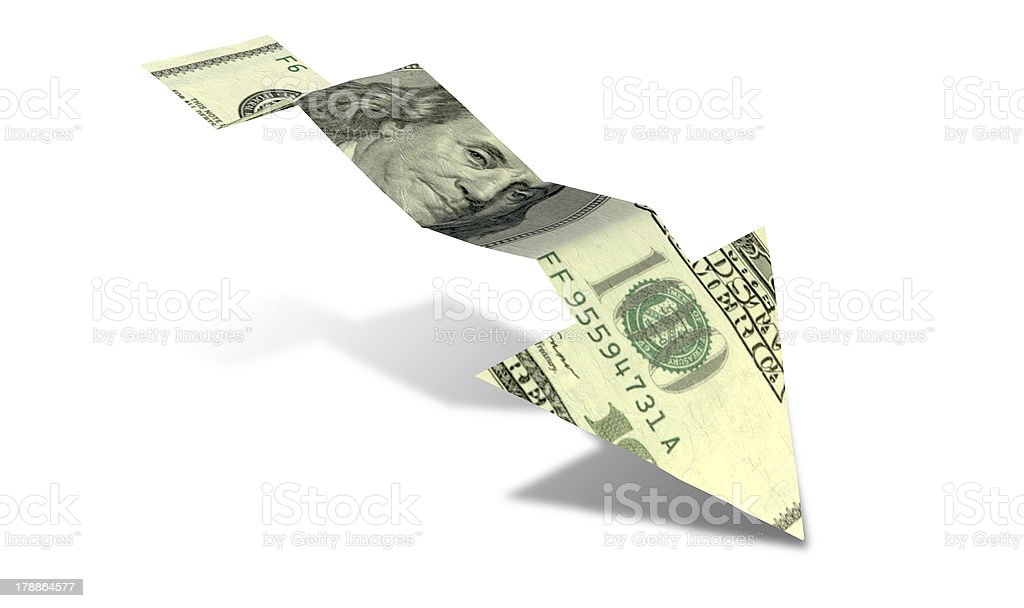 Dollar Bank Note Downward Trend Arrow stock photo