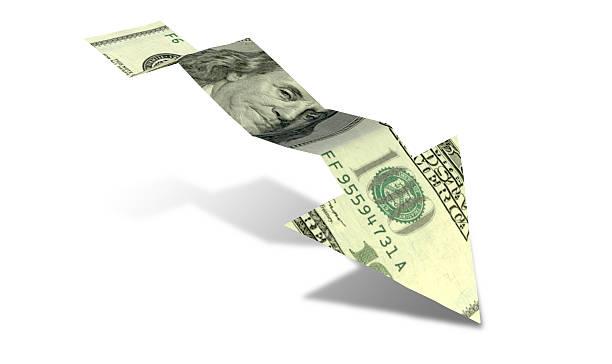 Dollar Bank Note Downward Trend Arrow stock photo