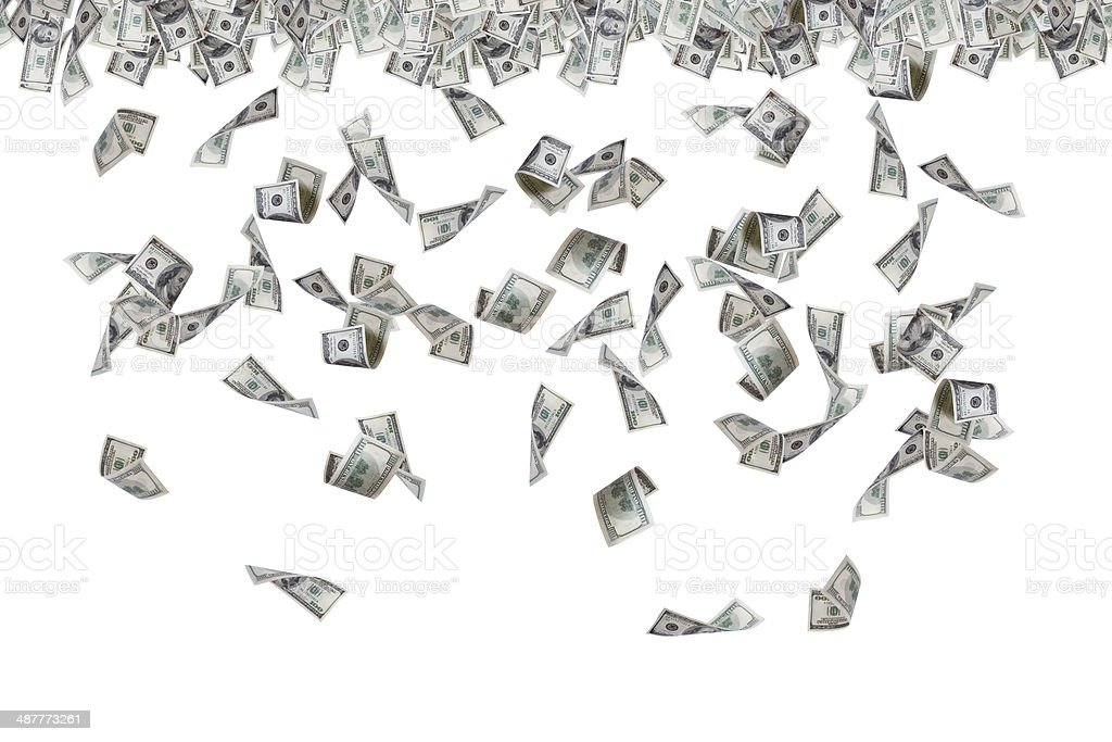 Dollar Banknotes Flying and Raining stock photo