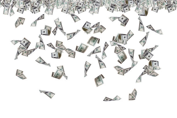 Dollar Banknotes Flying and Raining Finance concept, one hundred dollar banknotes flying, raining and falling down, isolated on white background. buy single word stock pictures, royalty-free photos & images
