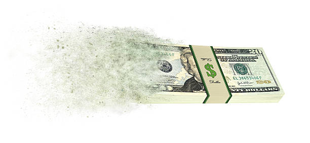 dollar banknotes going up in smoke - disintegrate stock pictures, royalty-free photos & images
