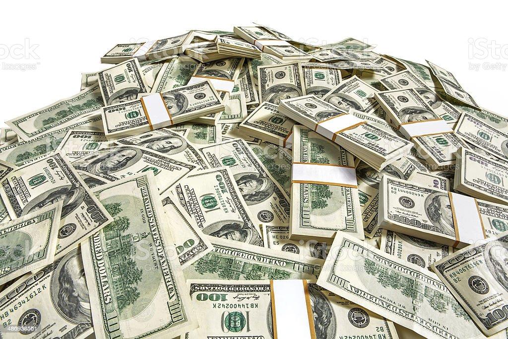 Dollar banknotes heap stock photo