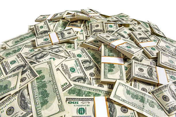 Dollar banknotes heap stock photo
