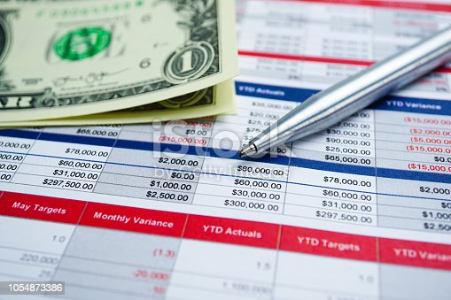 istock US dollar banknotes on preadsheet table paper with pencil. Finance development, Banking Account, Statistics Investment Analytic research data economy, trading, Mobile office reporting Business company meeting concept. 1054873386