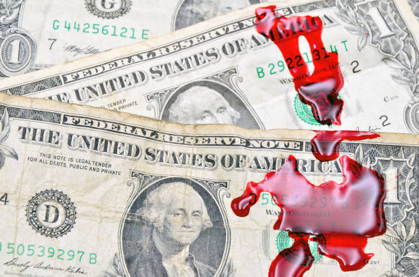 Dollar bill and blood Dollar bill and blood close up photo drug cartel stock pictures, royalty-free photos & images